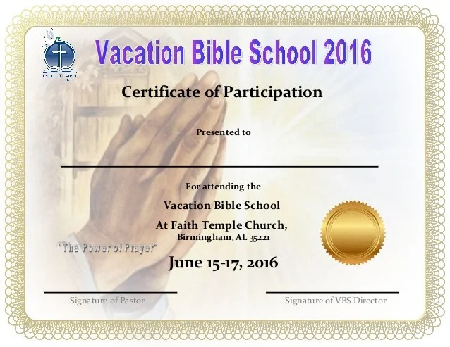 Free Vbs Certificate Templates Image Collections Creative