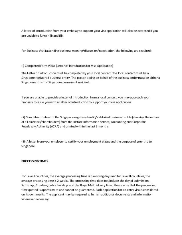 sample letter introduction visa application