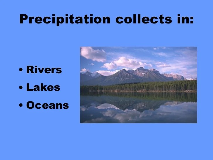 Precipitation collects in: <ul><li>Rivers </li></ul><ul><li>Lakes </li></ul><ul><li>Oceans </li></ul>