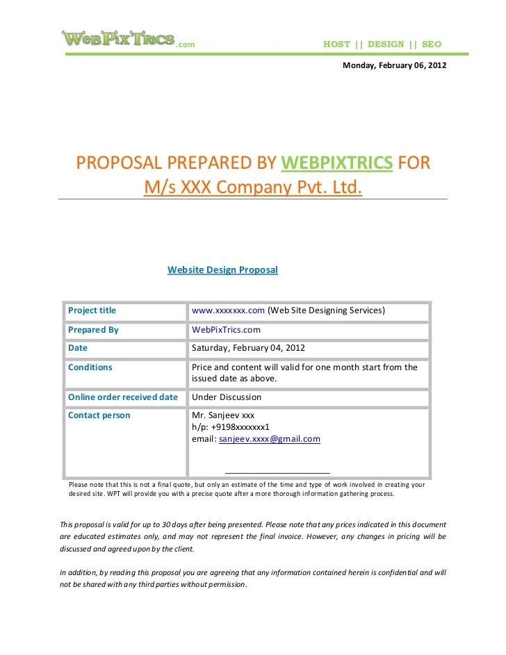 This template empowers you to communicate your web design pricing, qualifications, and terms. Web Design Proposal Sample