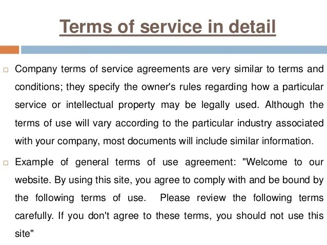 what is the difference between a terms of service and a on Terms Of Service id=19796