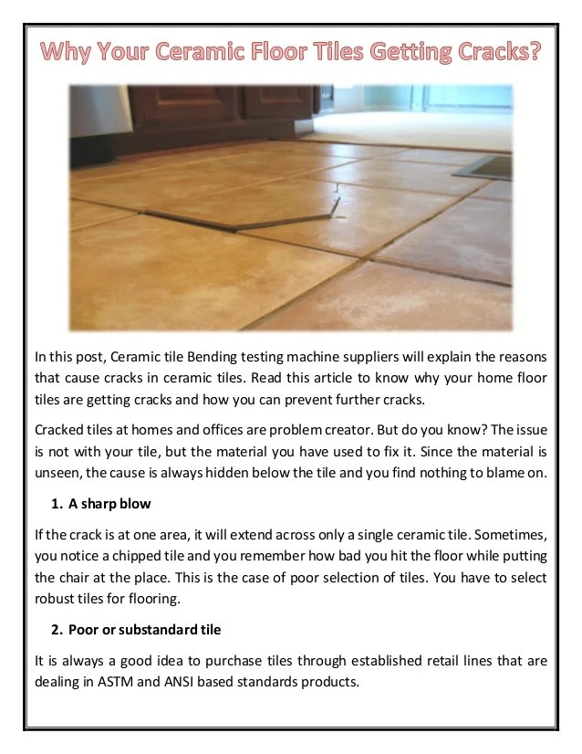 your ceramic floor tiles getting cracks