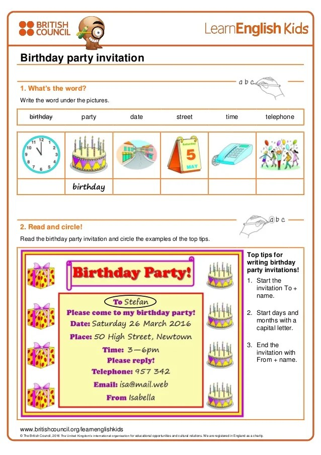 writing practice birthday party