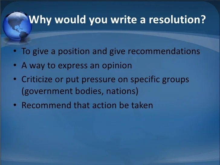 Writing a Resolution