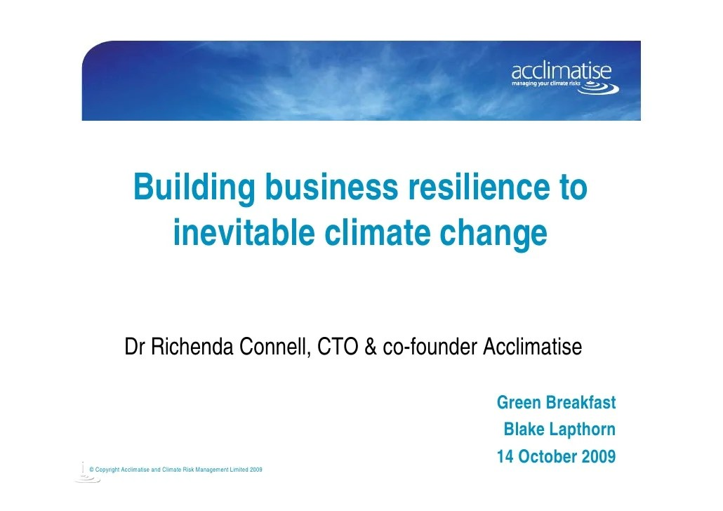 Building business resilience to inevitable climate change ...