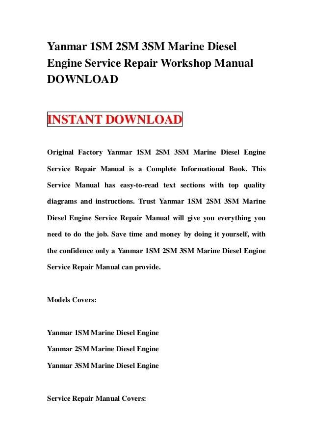 Yanmar 1GM 2GM 3GMD 3GM 3HM Marine Diesel Engine Service Repair Works…