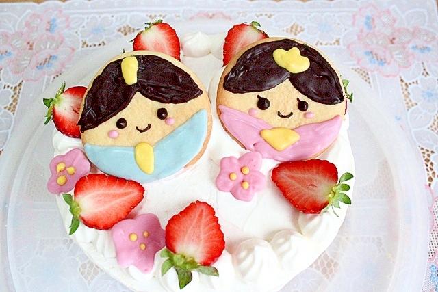 お雛様クッキーで★ひな祭りケーキ