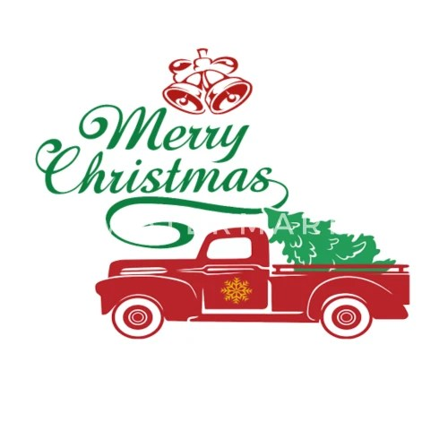 Red Truck Christmas Tree Vintage Red Pickup Truck By