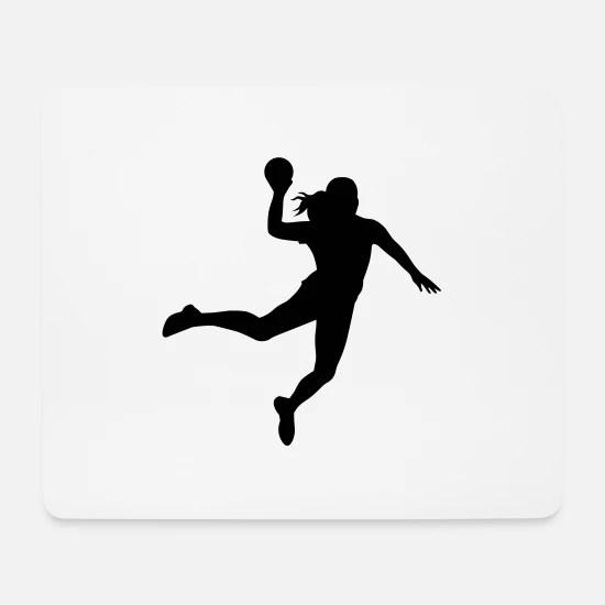 handballerin silhouette 1 mousepad weiss