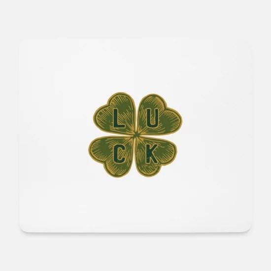 trefle a quatre feuilles avec de la chance en anglais tapis de souris blanc