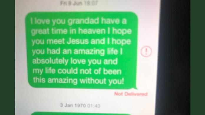 This screenshot of a text message from a nine-year-old to her dead grandpa is making the rounds on Twitter
