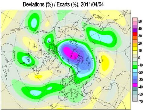 Harta stratului de ozon pe 4 aprilie