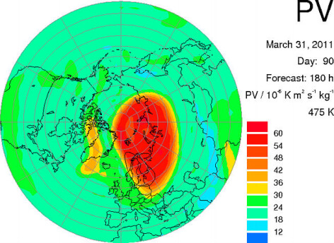 Pozitia gaurii de ozon, pe 31 martie