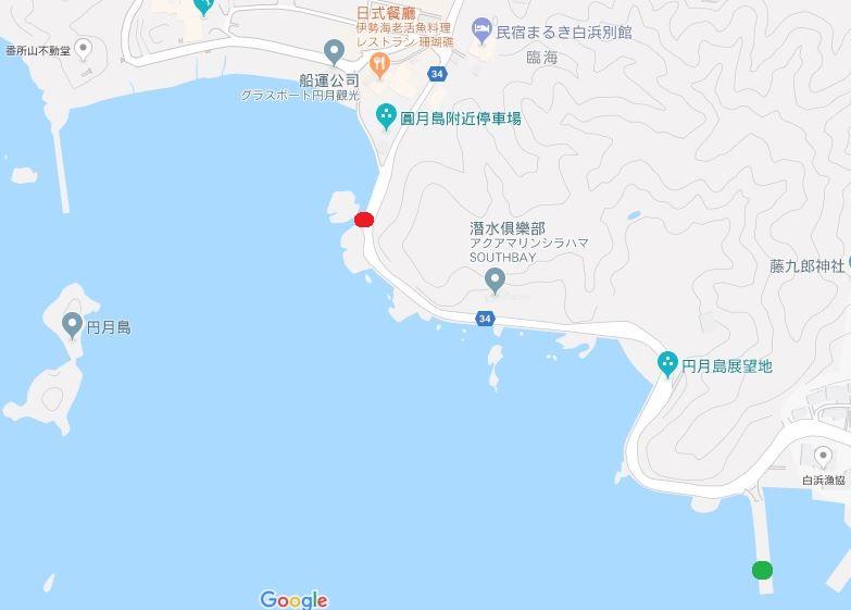 map Shirahama-和歌山円月島 欣賞白濱最迷人的夕陽