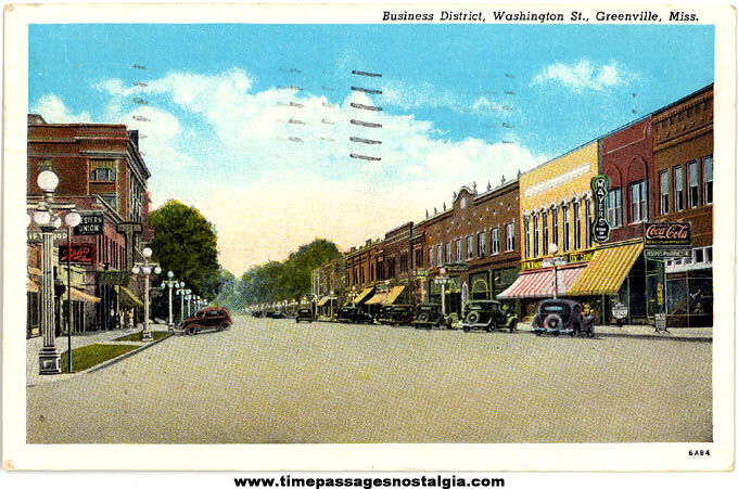 Colorful 1940 Downtown Greenville Mississippi Linen Post Card TPNC
