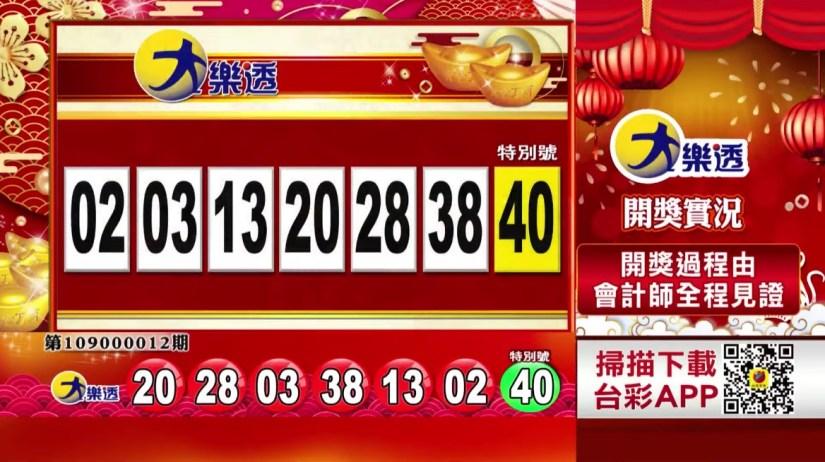 大樂透中獎號碼》第109000012期 民國109年1月28日》以及春節大紅包》