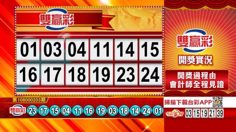 雙贏彩中獎號碼》第108000203期 民國108年8月24日