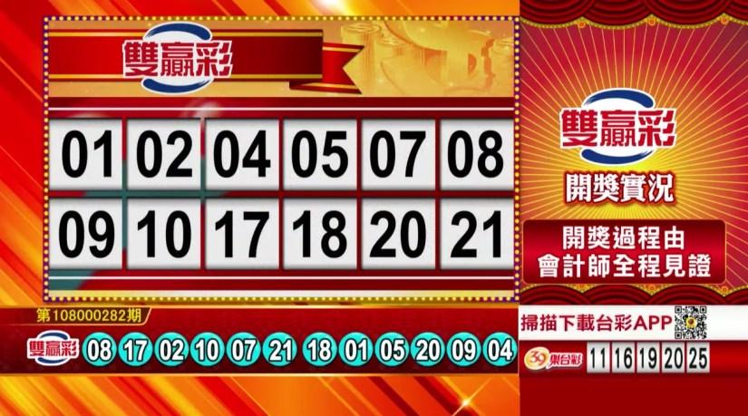 雙贏彩中獎號碼》第108000282期 民國108年11月25日