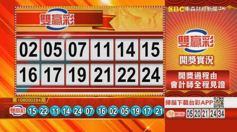 雙贏彩中獎號碼》第108000284期 民國108年11月27日