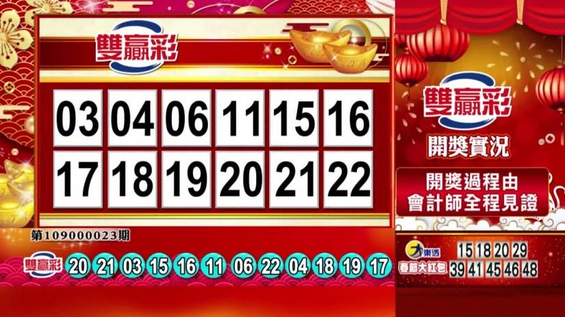 雙贏彩中獎號碼》第109000023期 民國109年1月27日