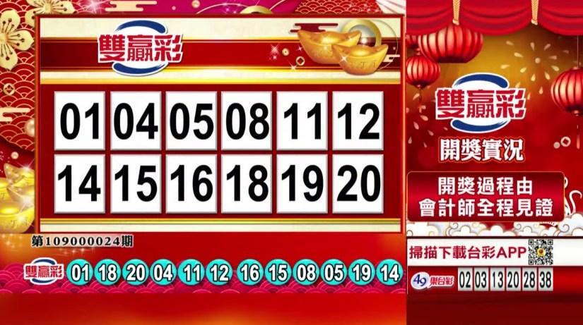 雙贏彩中獎號碼》第109000024期 民國109年1月28日