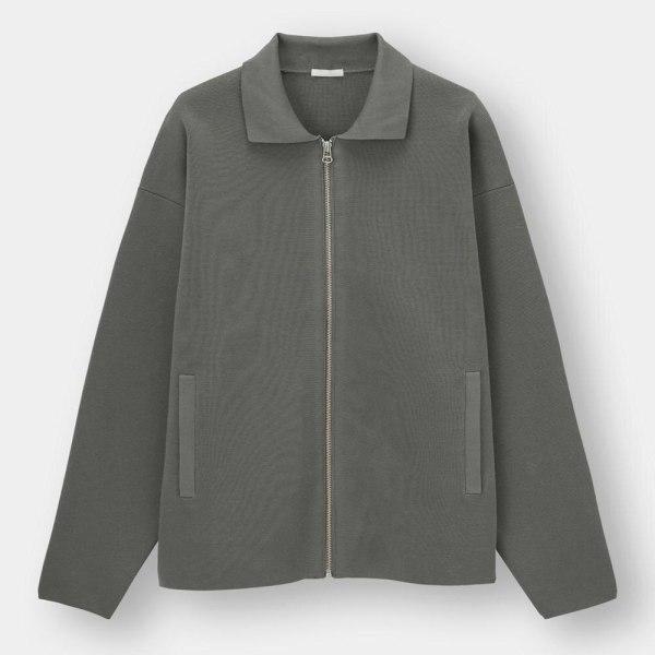 ミラノリブフルジップセーター(長袖)-GRAY