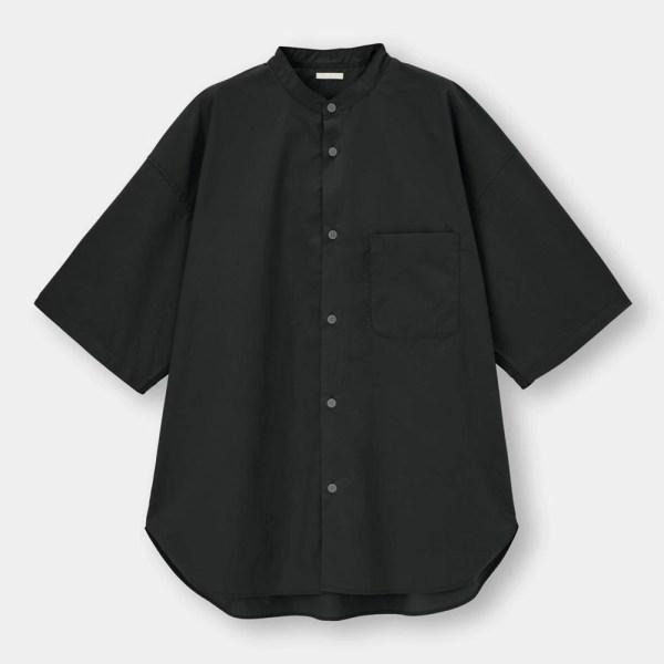 ブロードオーバーサイズバンドカラーシャツ(5分袖)Q-BLACK