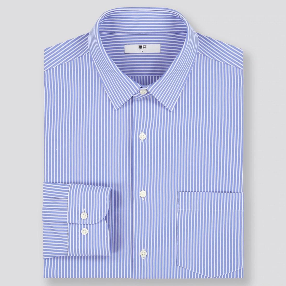 ファインクロスコンフォートストライプシャツ(ボタンダウンカラー・長袖)