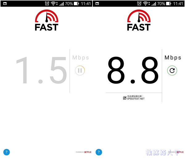 執行立即檢測與分析你的行動網路速度的「Fast Speed test」App fast-04