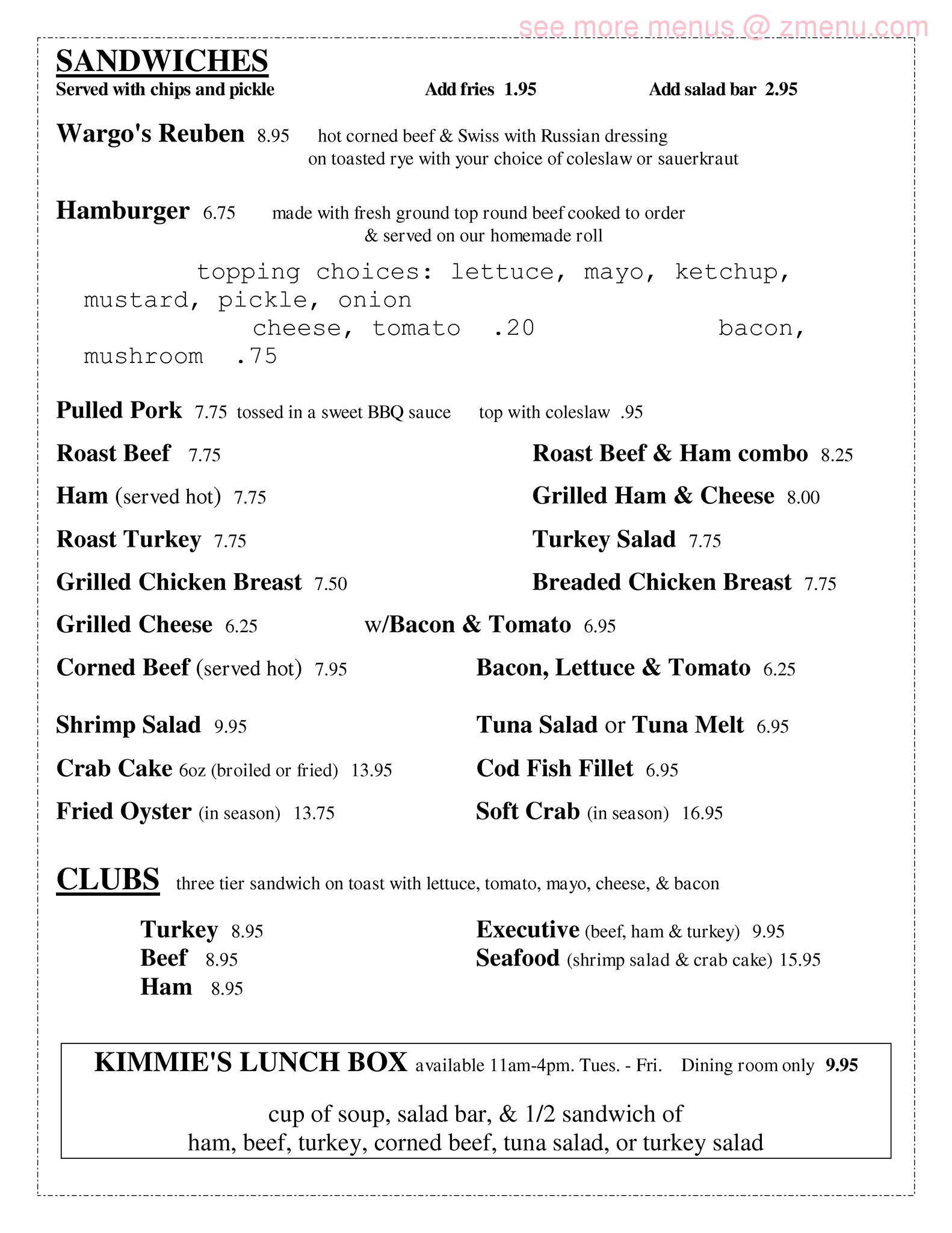 Online Menu Of Wargos Forest Hill Inn Restaurant Forest