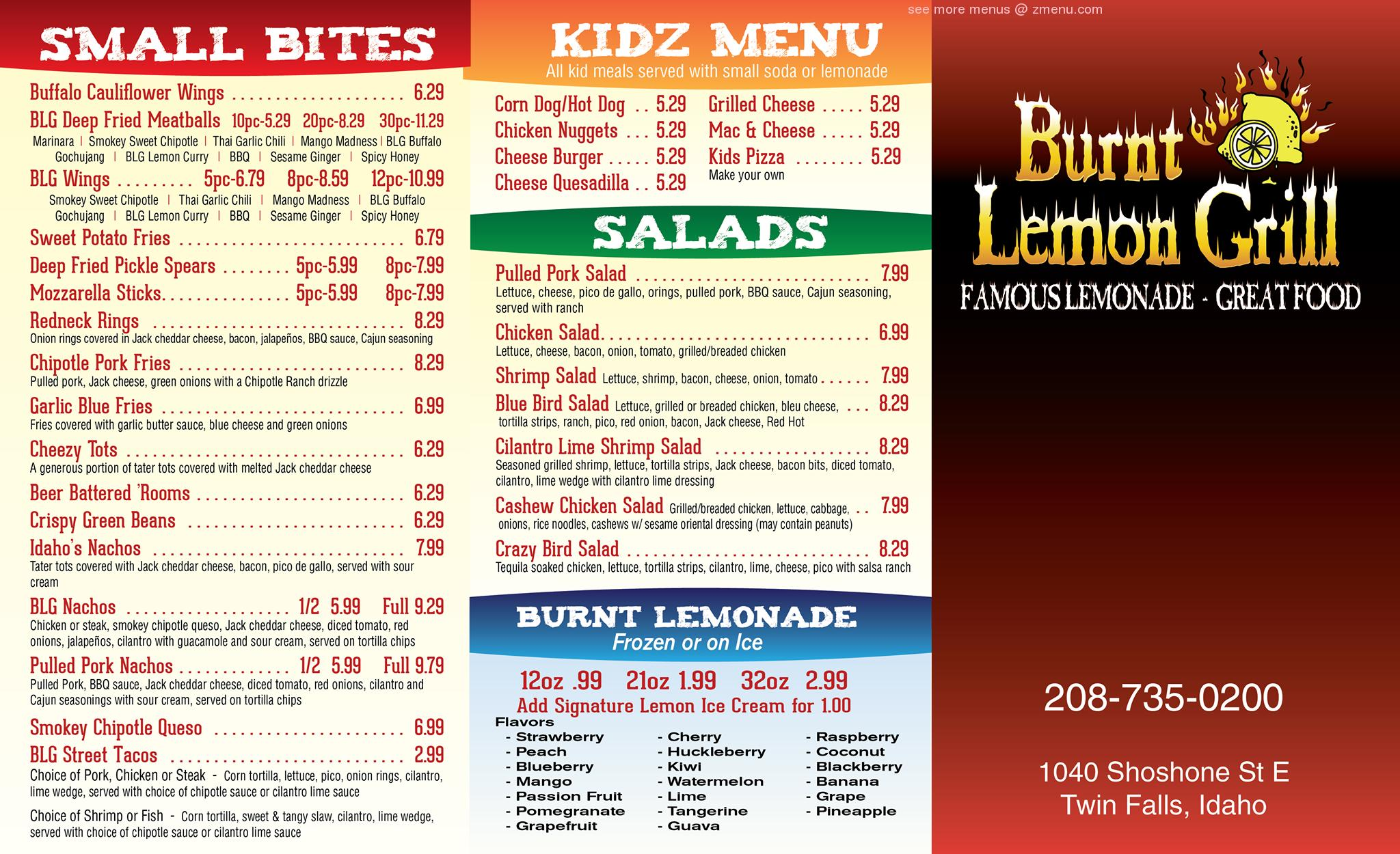 Thank you and stay healthy: Online Menu of Burnt Lemon Grill Restaurant, Twin Falls