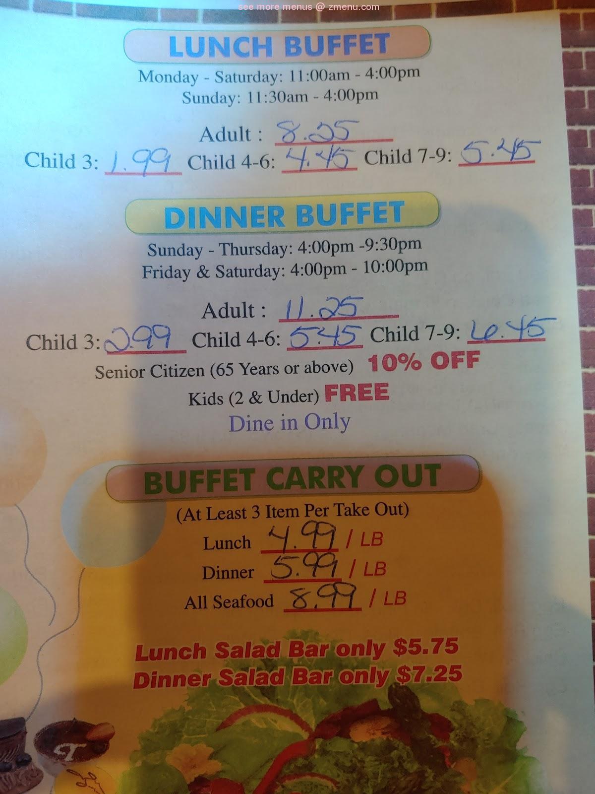 menu of kings wok buffet restaurant