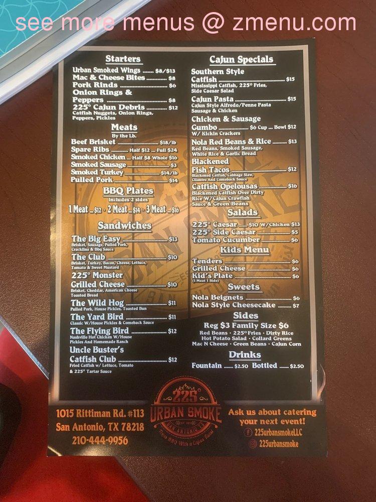 Online Menu Of 225 Urban Smoke Restaurant San Antonio
