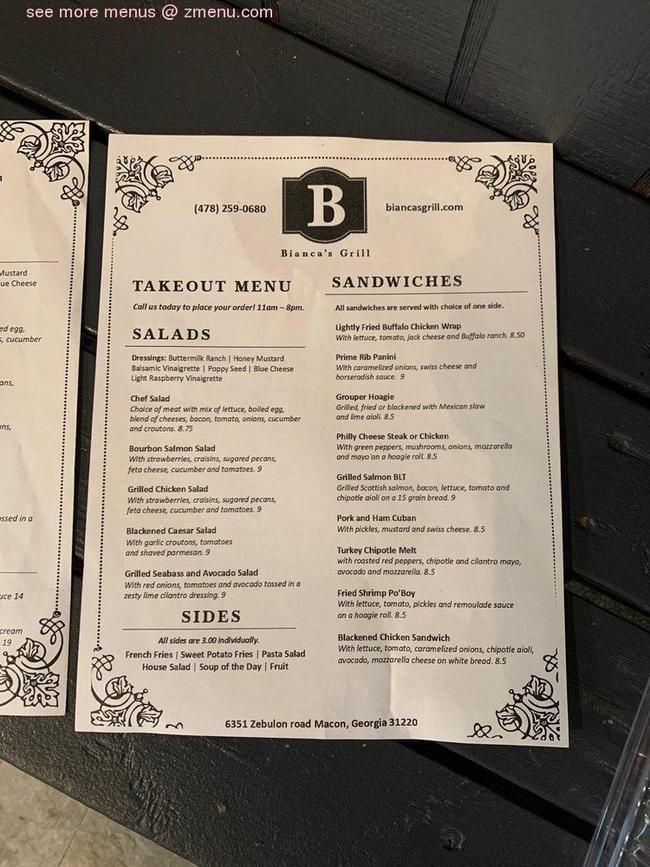Online Menu of Biancas grill Restaurant, Macon, Georgia