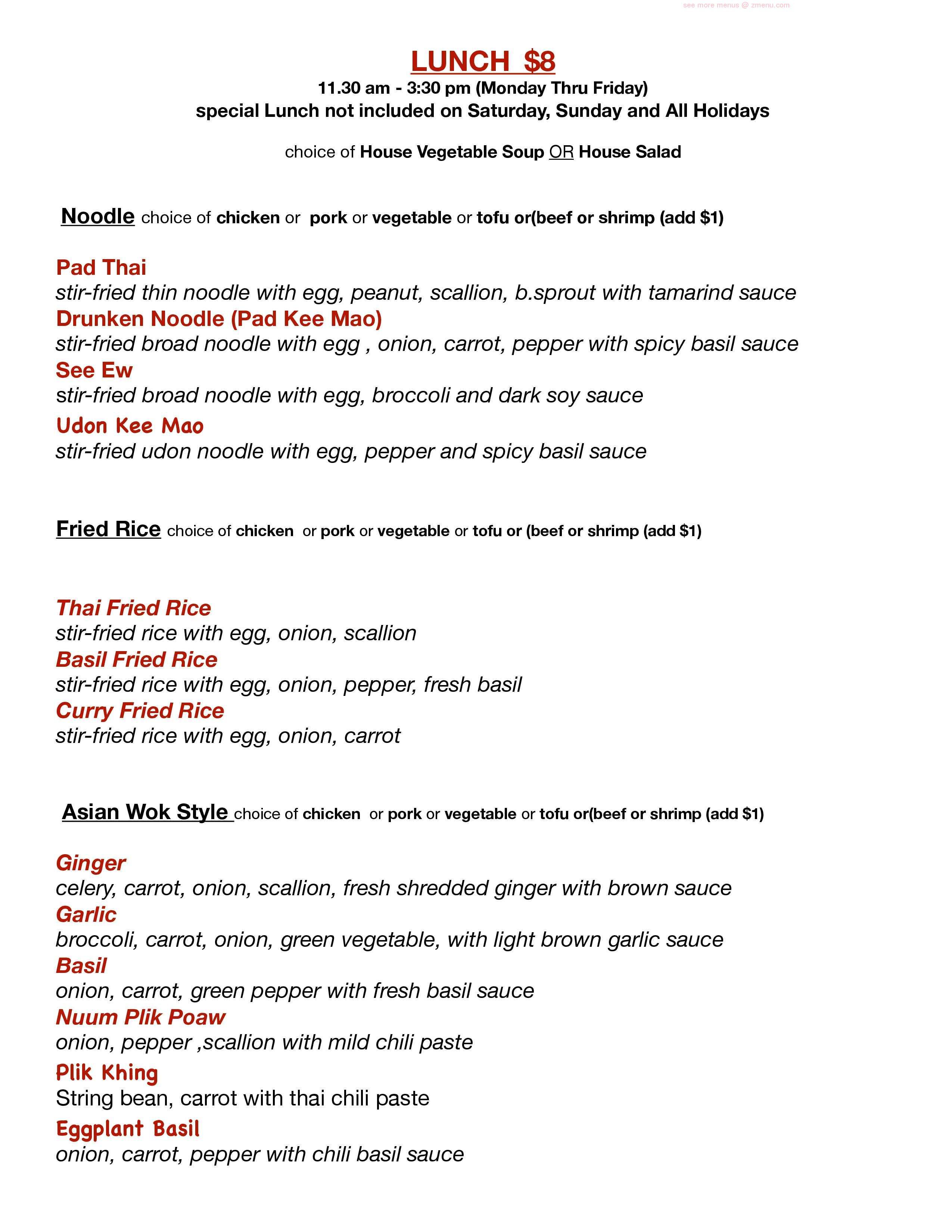 Online Menu Of Morris Thai Cuisine Restaurant Union New