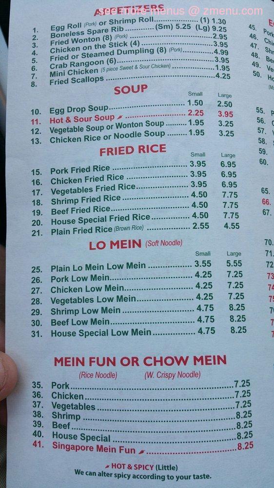 Chinese Fast Food Menu