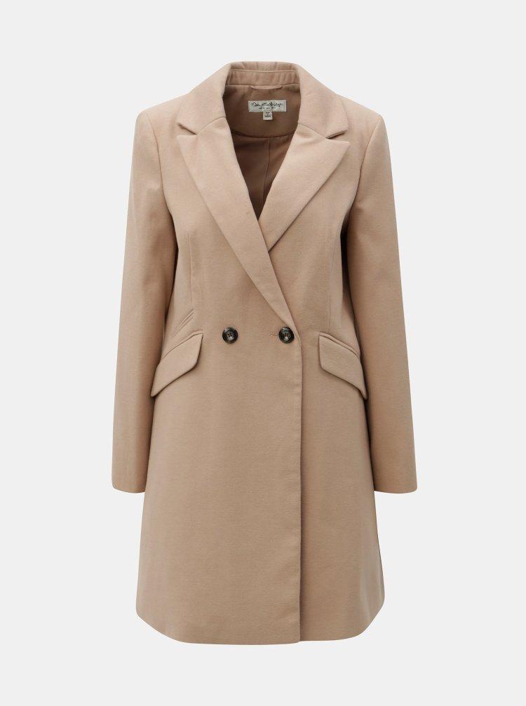 Béžový dlouhý kabát Miss Selfridge