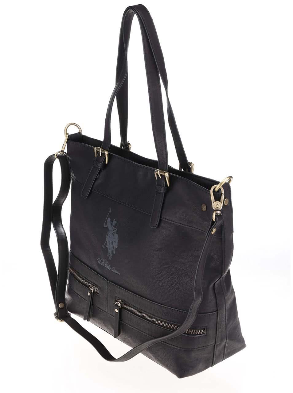 Geantă neagră shopper  U.S. Polo Assn cu baretă detașabilă