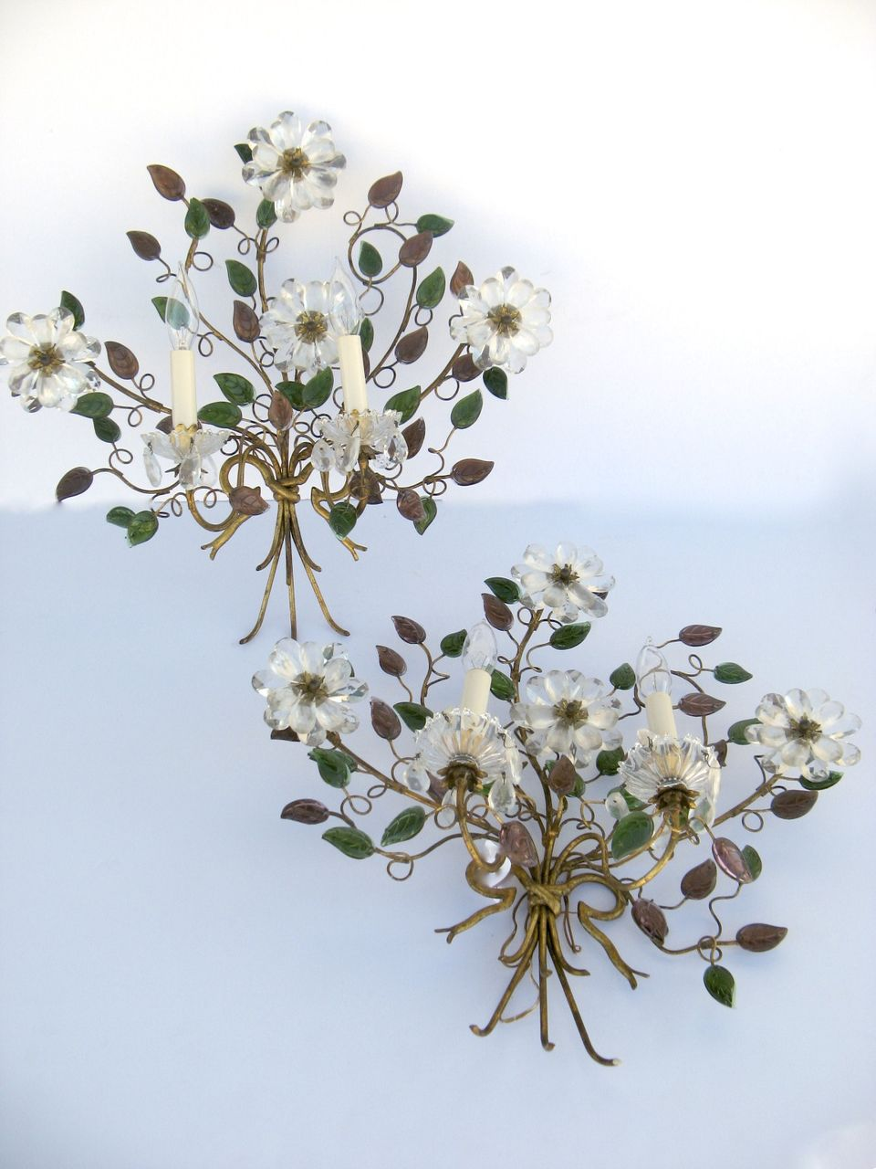 Pair of French Wall Sconces Bouquet Glass Flowers from ... on Flower Wall Sconces id=96293