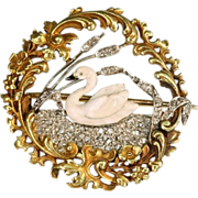 Flowery diamond gold swan brooch - France, ca.1890