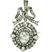 Antique rose cut diamond brooch pendant bow ornamental Victorian jewelry