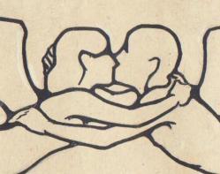 the kiss art nouveau drawing
