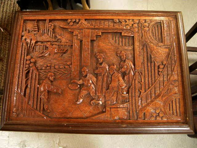 Rare George Zee Carved Oriental Nested Tables Set 4 From