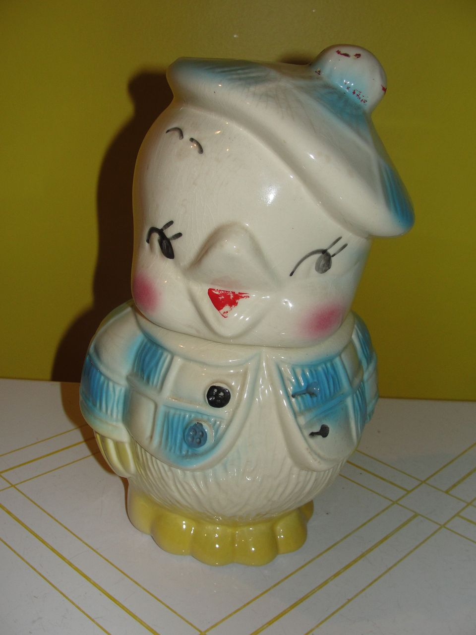 American Bisque Chick With Tam Hat Cookie Jar From