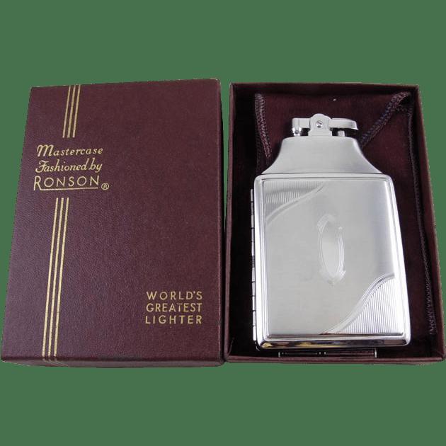 Cigarette Case Lighter Ronson Chrome Vintage Art Deco M55