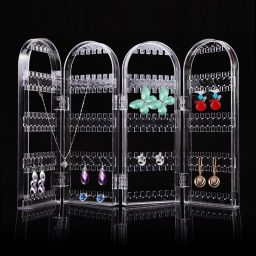 Jewelry Necklace Earrings Ear Stud Clear Stand Display Organizer Holder  Show Rack 240 Holes