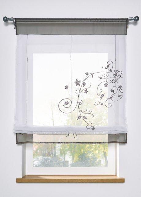 Bastone binario per tenda a pacchetto a vetro. Tenda A Pacchetto Con Laccetti Trasparente Con Ricami Colorati Grigio Coulisse