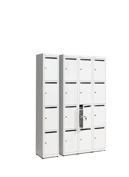 Postsortier-/ Aufbewahrungsschrank aus Stahl mit 4 Fächern, weiß AJ Produkte Deutschland