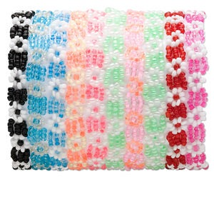 Bracelet Mix, Stretch, Glass, Mixed Colors, 8mm Wide, 6-1/2 Inches. Sold Per Pkg 10