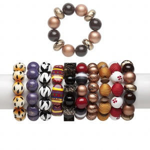 Bracelet Mix, Stretch, Painted Wood, Multicolored, 19-20mm Wide Mixed Shape, 6-1/2 Inches. Sold Per Pkg 10